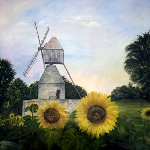 windmill with sunflowers painting
