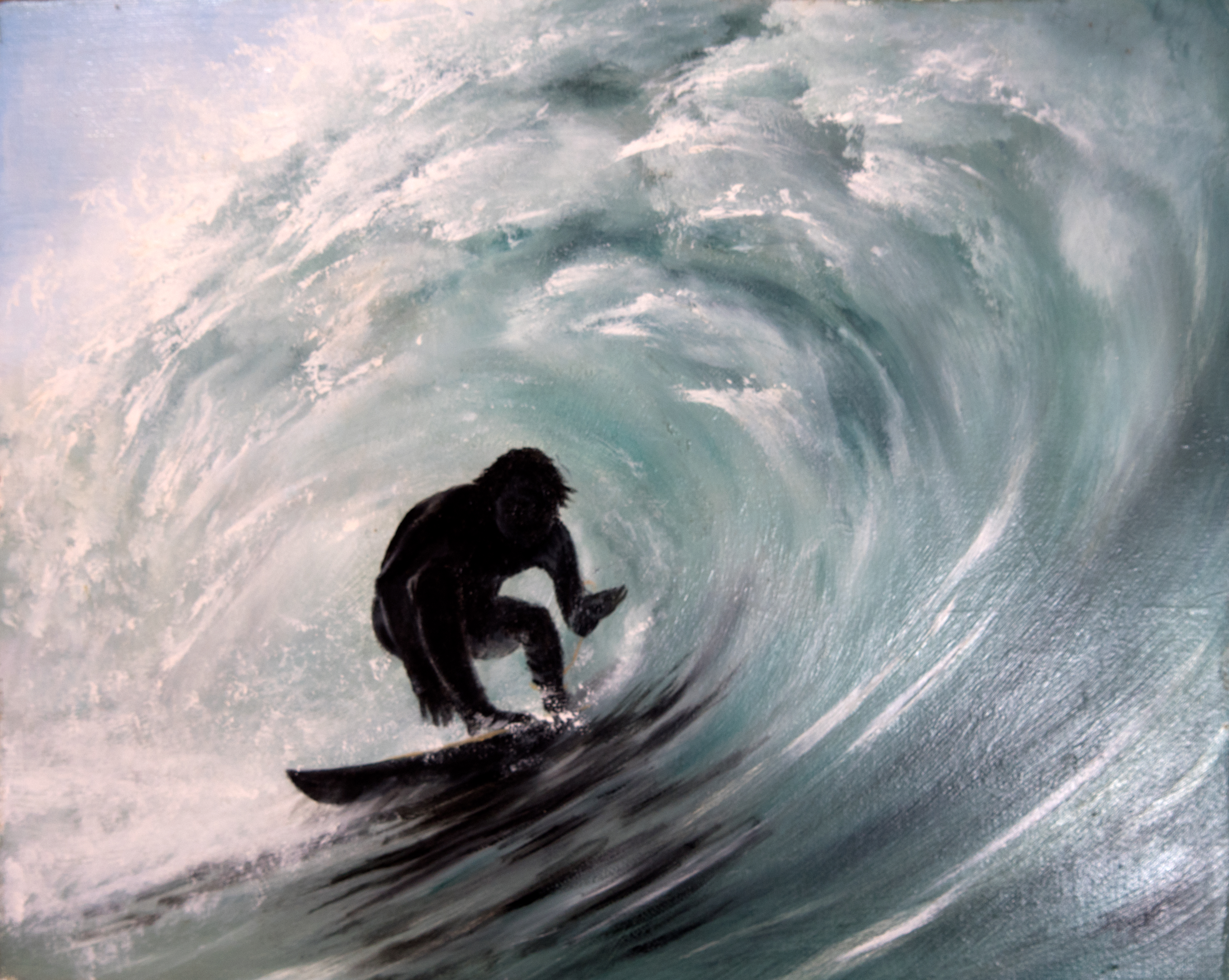Barreled surf painting